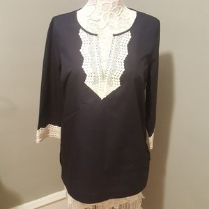 NYDJ Tunic Top with Crocheted Embroidered Detail
